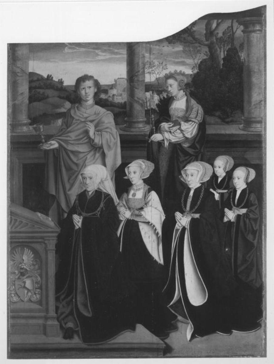 Siegen-Altar: Die hll. Johannes Ev. und Katharina mit Katharina von Siegen, geb. Wolff, und vier Töchtern  Rückseite: Kreuzannagelung Christi