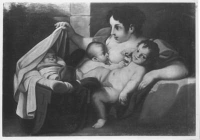 Caritas mit Kind in der Wiege