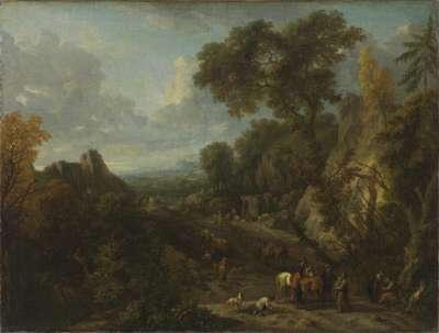 Südliche Landschaft mit Bauern und Hirten