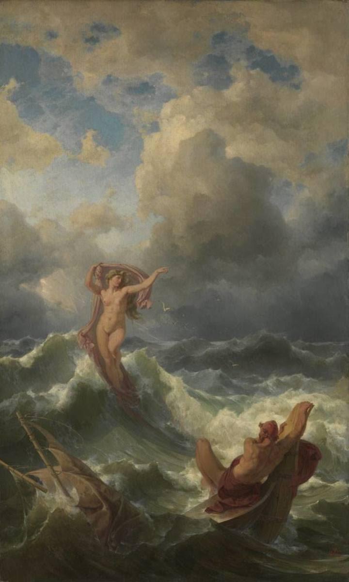 Leukothea erscheint Odysseus im Sturm