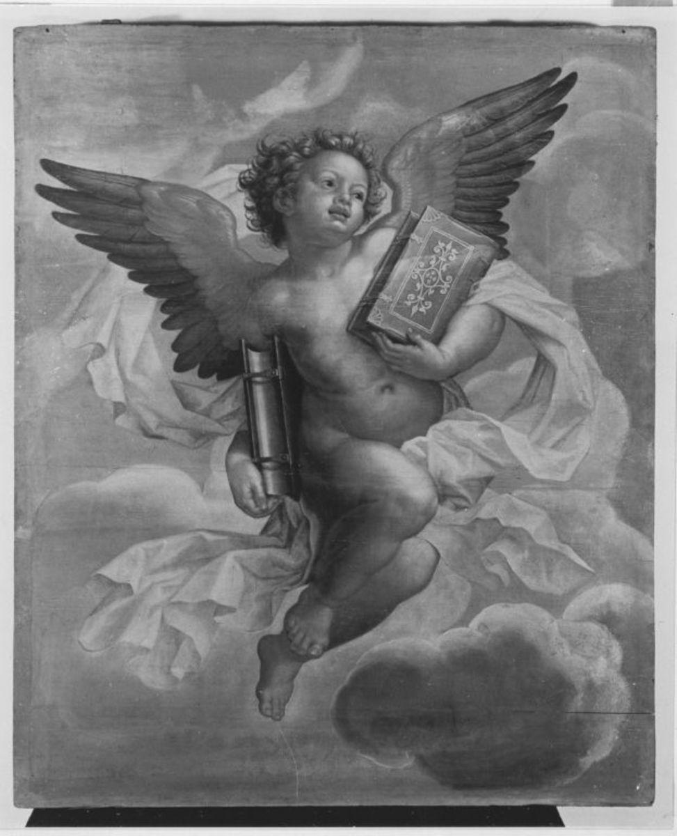 Fliegender Engel mit zwei Büchern