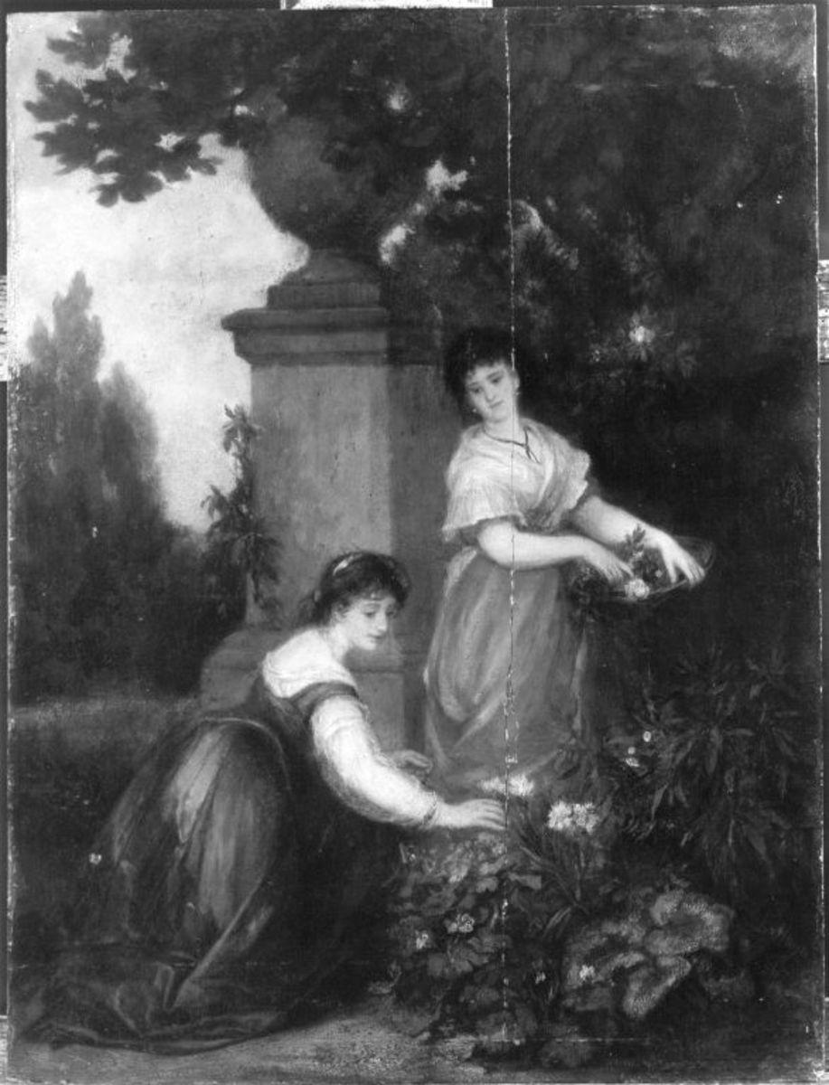Zwei Mädchen mit Blumen