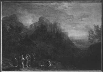 Ideale Gebirgslandschaft mit Christus und Jüngern