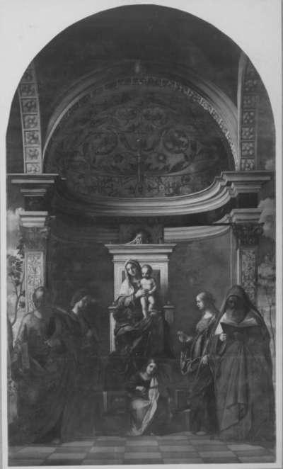 Thronende Madonna mit musizierendem Engel und Heiligen (nach Giovanni Bellini) (Pala di S. Zaccaria)