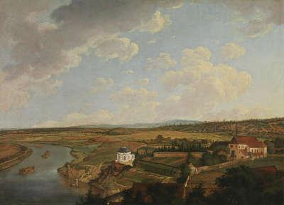 Blick von Schloss Aschaffenburg mainabwärts auf das Kapuzinerkloster (Aschaffenburger Zyklus)