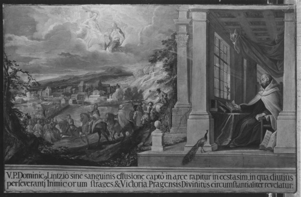 Einzug Maximilians und des Paters mit dem Heer in Linz