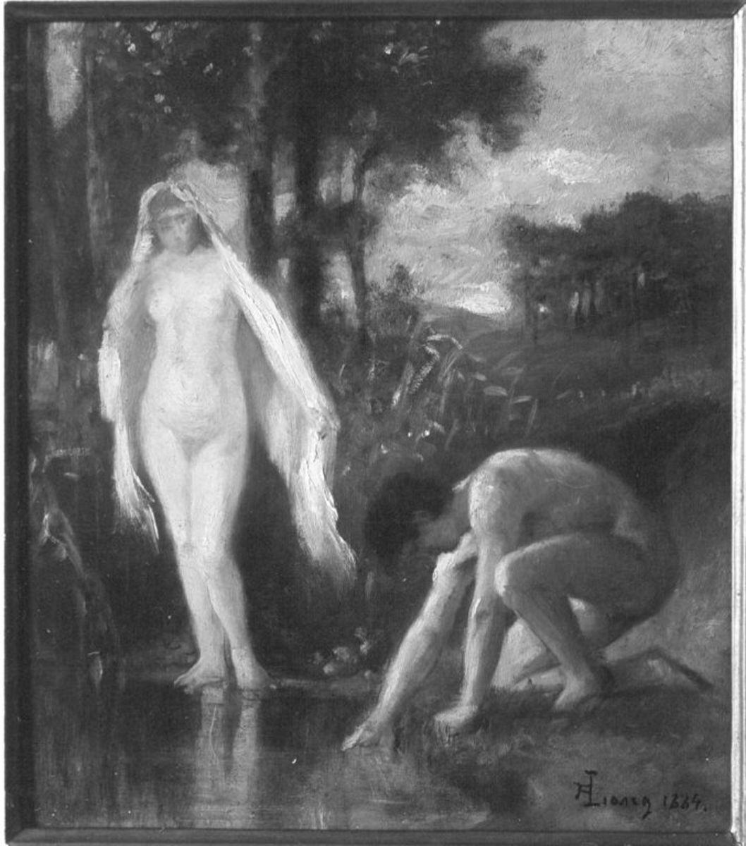 Badendes Paar in Landschaft