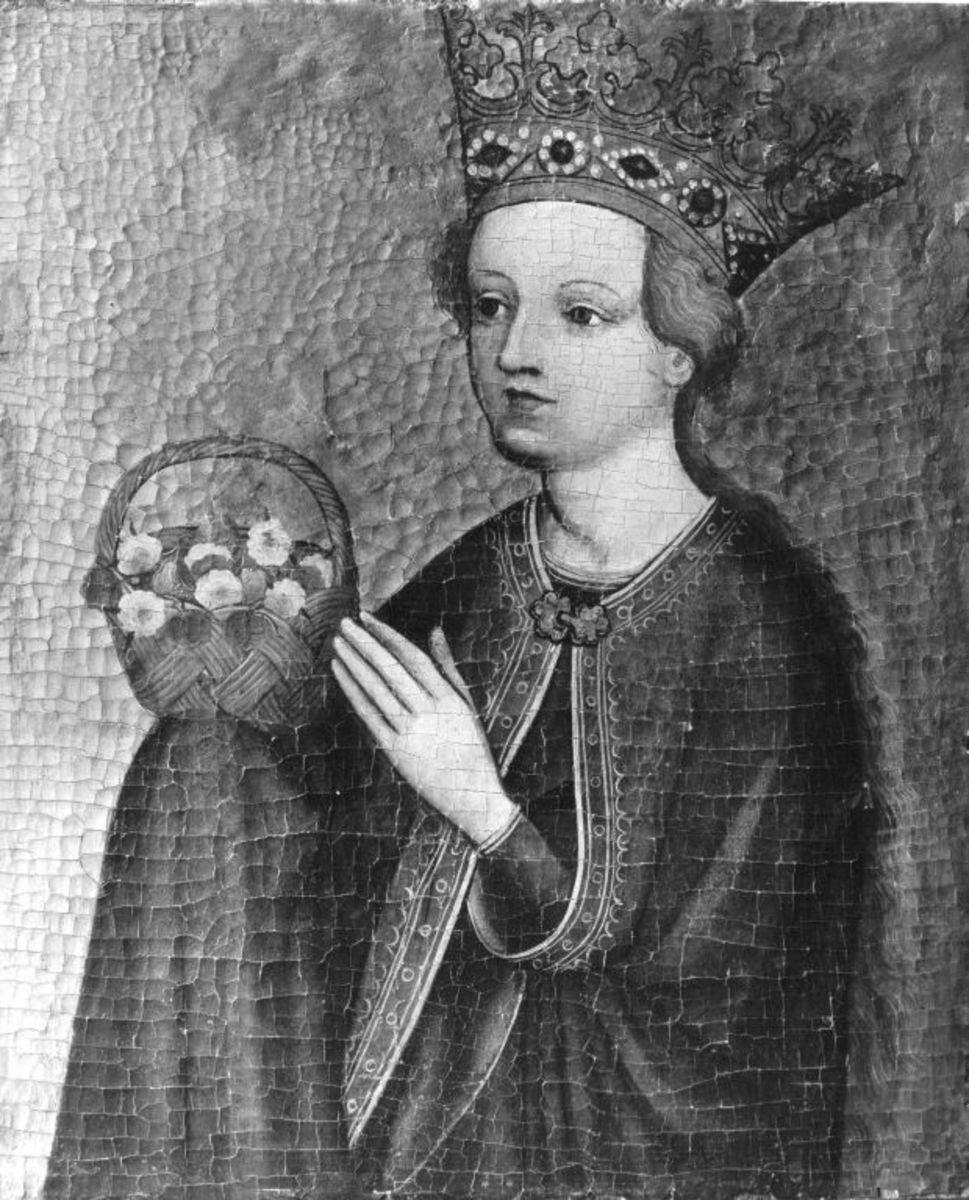 Katharinen-Altar: Hl. Dorothea Rückseite: Martyrium der hl. Katharina (zerstört)