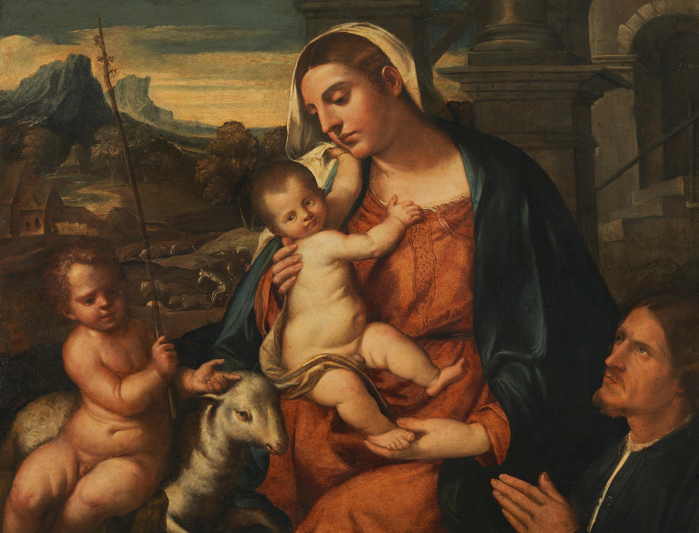 Maria mit dem Kinde, dem Johannesknaben und einem Stifter