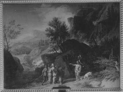 Felsenlandschaft mit Predigt Johannes des Täufers