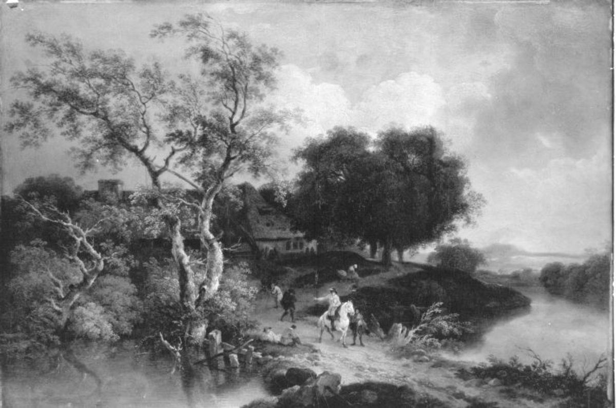 Landschaft mit Reiter auf einem Weg zwischen zwei Seen