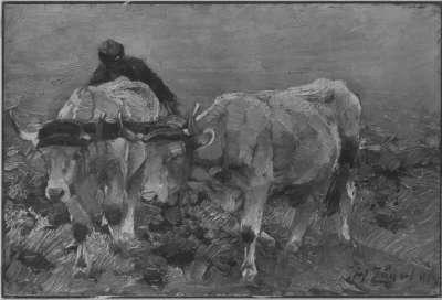 Bauer mit zwei Ochsen