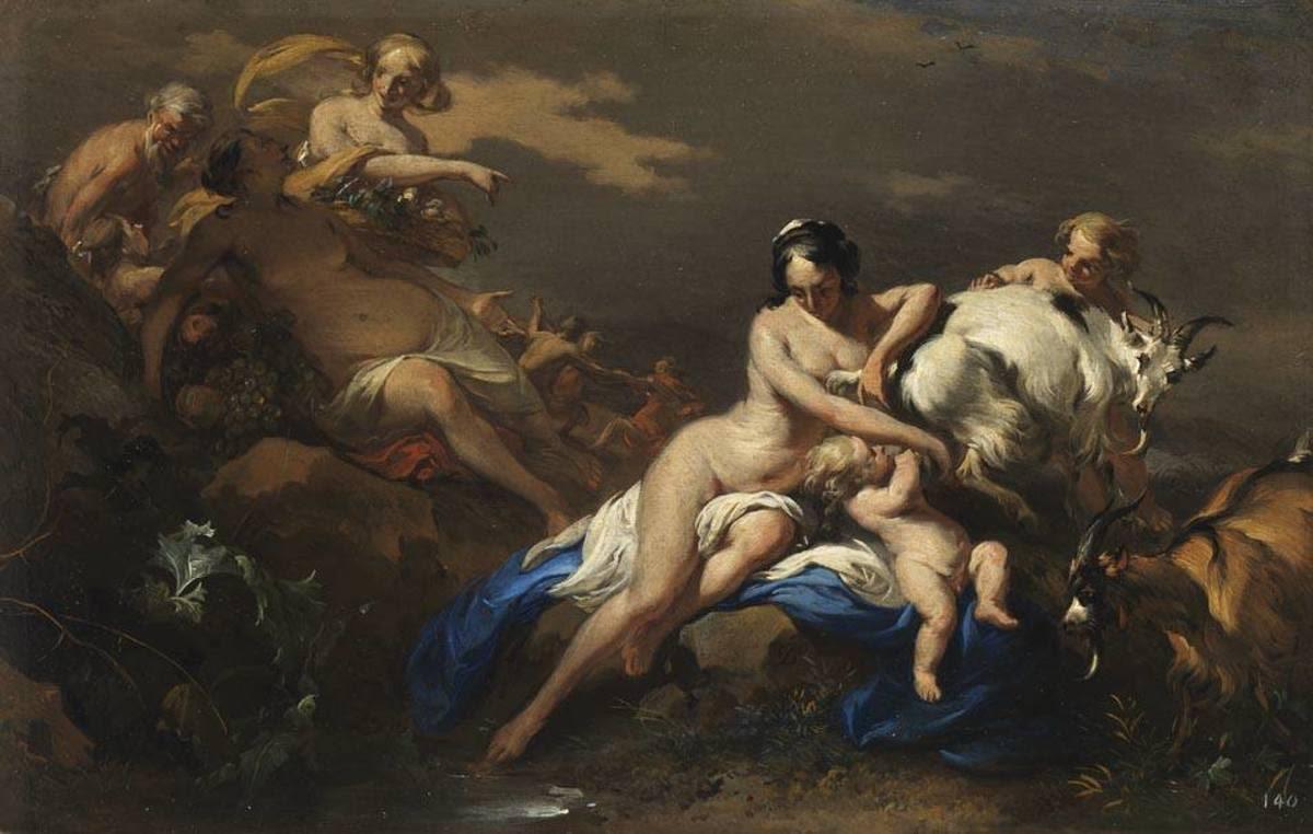 Jupiter von Nymphen gepflegt