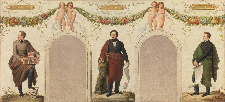 Bildnisse der Künstler Friedrich Ziebland, Ludwig von Schwanthaler und Karl Schorn