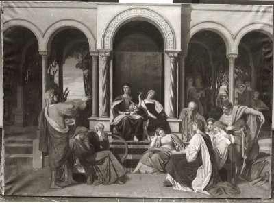Renaissancegesellschaft im Hof eines Palastes