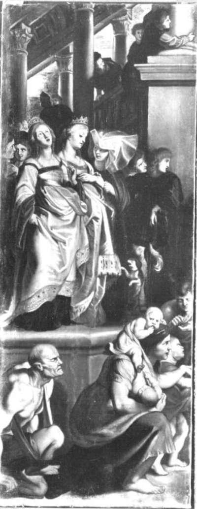 Die hll. Gertrud und Begga werden Zeuginnen, wie der hl. Bavo von den hll. Amand und Floribert empfangen wird