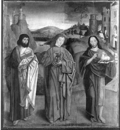 Beschneidungsaltar: Die hll. Bartholomäus, Johannes Ev. und Johannes d. T.