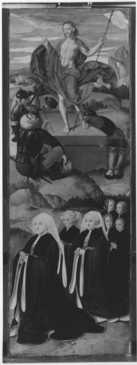 Flügelaltar: Auferstehung Christi und sieben Stifterinnen Rückseite: Marmorimitation