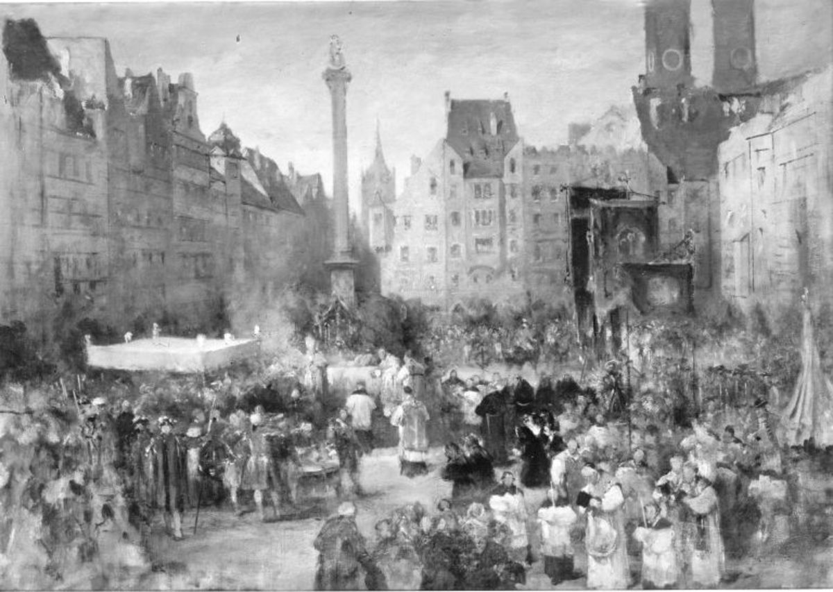 Fronleichnamsprozession auf dem Marienplatz in München