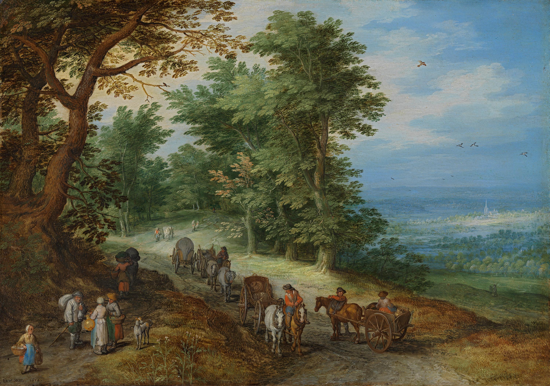 Landschaft mit Gepäckzug