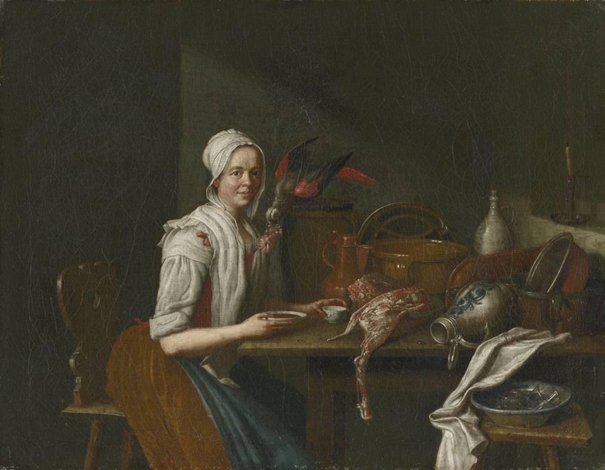 Küchenstillleben mit weiblicher Figur und Papagei