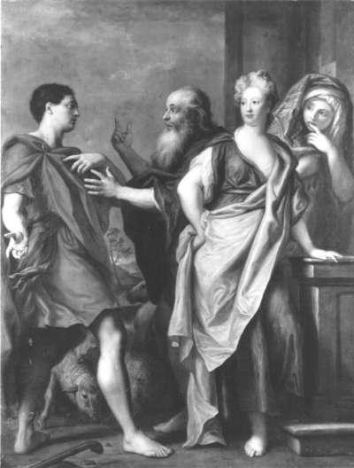 Laban verspricht seiner Tochter Rebecca den Jakob