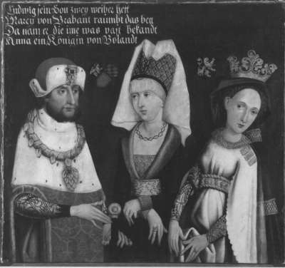 Bildnis des Herzogs Ludwig II. der Strenge von Oberbayern mit seinen Gemahlinnen Maria von Brabant und Anna von Glogau