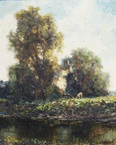 Baumlandschaft mit Weiher und Kühen