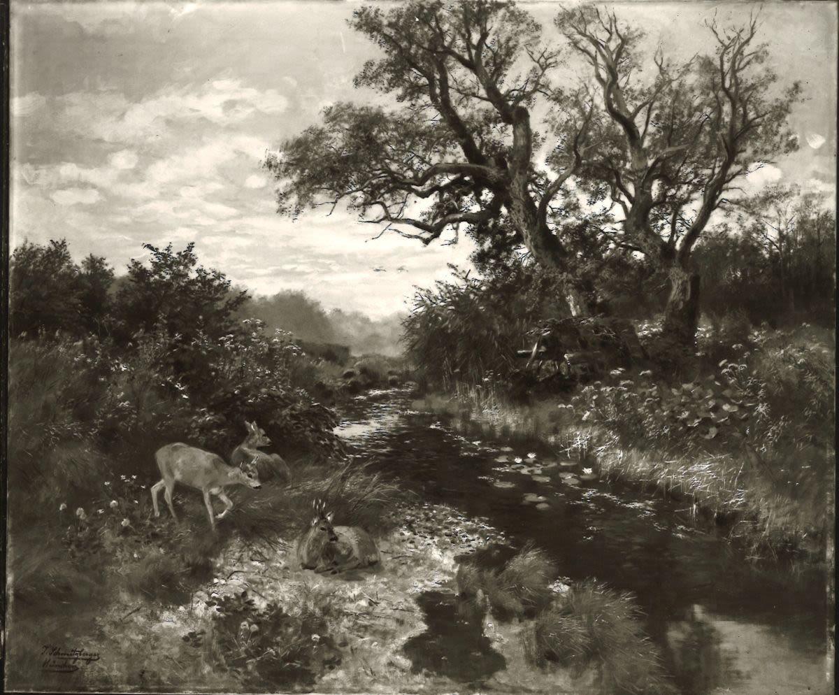 Landschaft mit Bach und Rehen