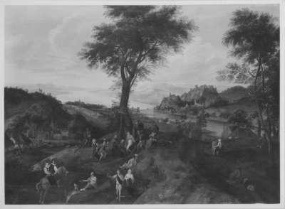 Landschaft mit Kirmes