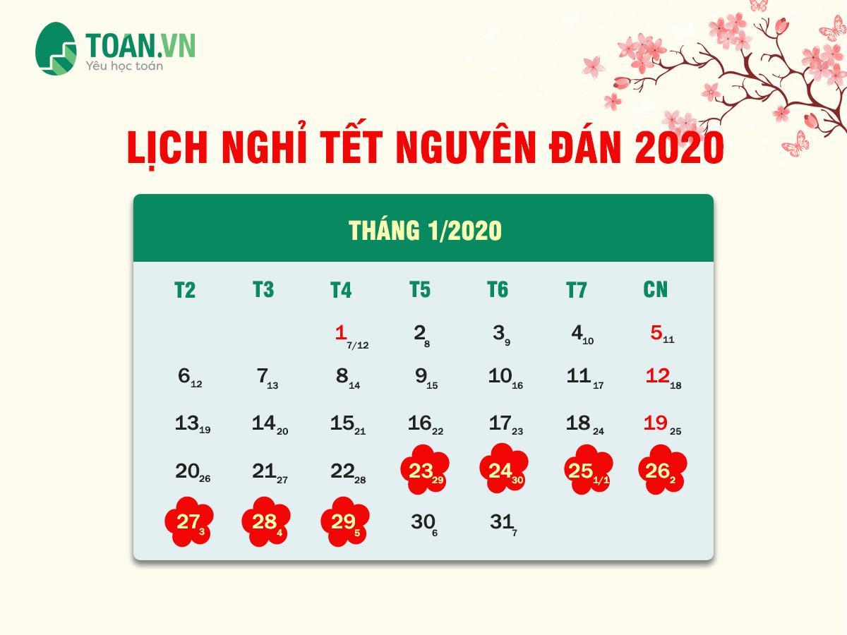 LỊCH NGHỈ TẾT NGUYÊN ĐÁN 2020 TẠI TOÁN.VN
