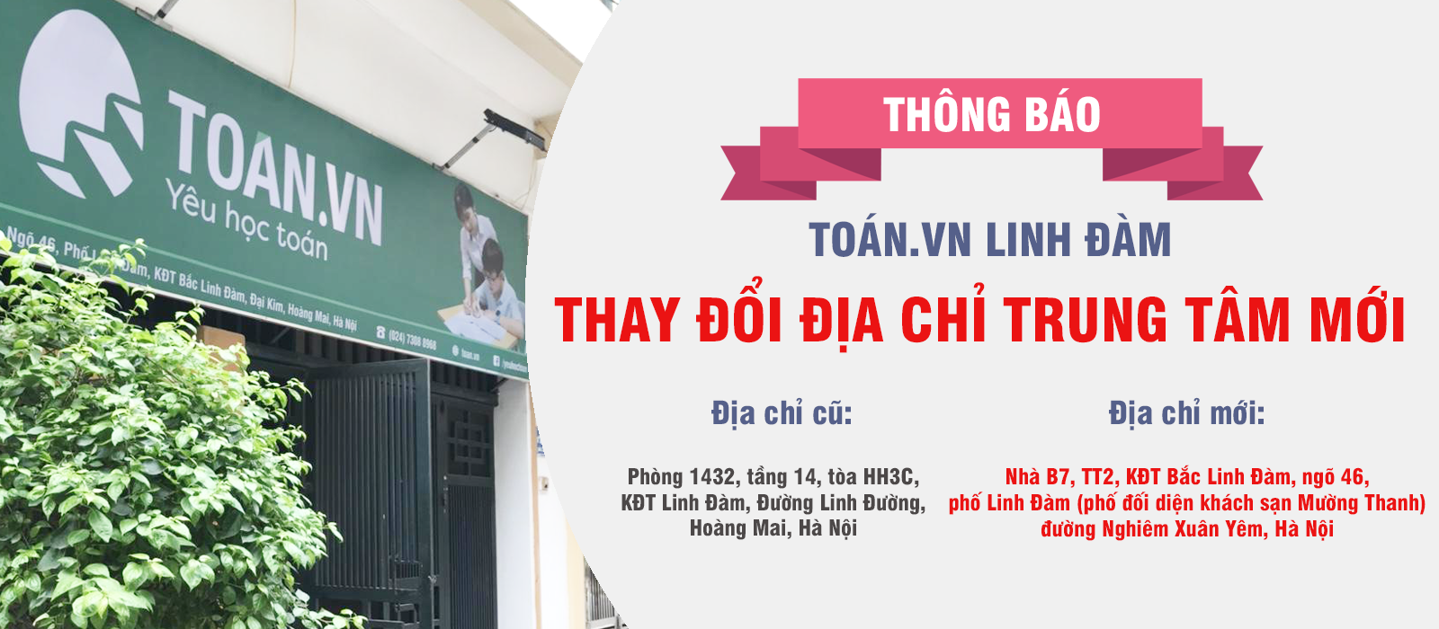 """""""alt thông báo Toán.vn Linh Đàm chuyển địa điểm"""""""