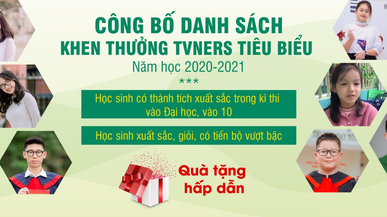 CÔNG BỐ DANH SÁCH KHEN THƯỞNG TVNERS TIÊU BIỂU NĂM HỌC 2020-2021