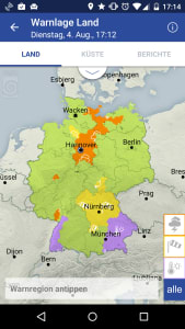 Die DWD-Warnwetter App