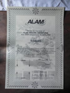 Urkunde von Alam Adventures
