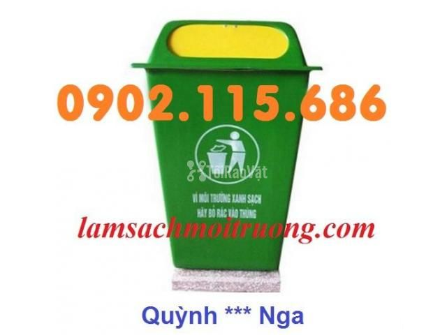 Bán thùng rác nhựa 90L,thùng rác công cộng,thùng rác nhựa composite, - 2/3