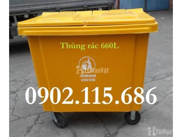 Thùng rác 660L, thùng rác 660 lít, xe gom rác 660L, thùng rác 660L có  - 1/4