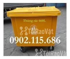 Thùng rác 660L, thùng rác 660 lít, xe gom rác 660L, thùng rác 660L có  - Hình ảnh 1/4
