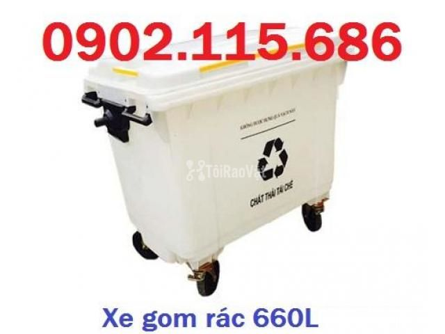 Thùng rác 660L, thùng rác 660 lít, xe gom rác 660L, thùng rác 660L có  - 3/4