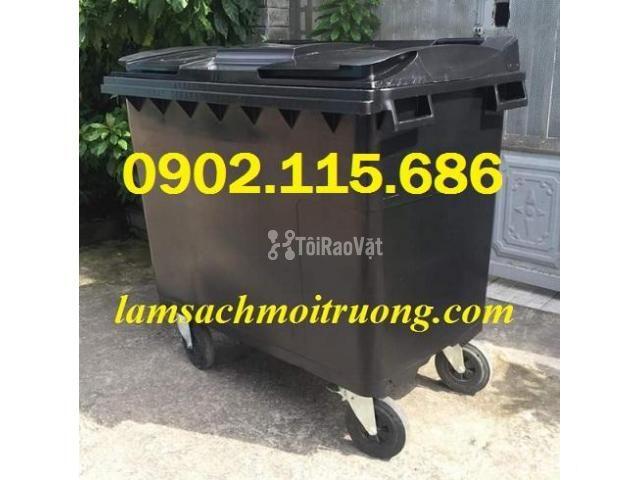 Thùng rác 660L, thùng rác 660 lít, xe gom rác 660L, thùng rác 660L có  - 4/4