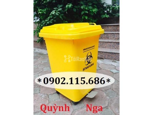 Thùng rác nhựa 60L, thùng rác 60L có bánh xe, thùng rác y tế 60L, - 1/2