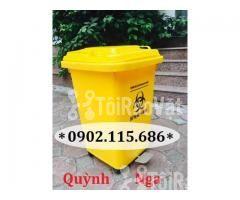 Thùng rác nhựa 60L, thùng rác 60L có bánh xe, thùng rác y tế 60L, - Hình ảnh 1/2