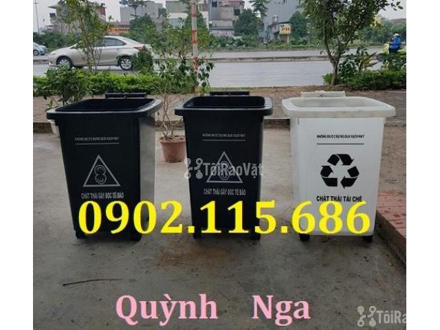 Thùng rác nhựa 60L, thùng rác 60L có bánh xe, thùng rác y tế 60L, - 2/2