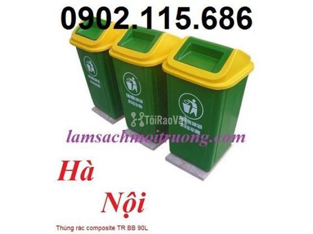 Thùng rác nhựa 90 lít, thùng rác công cộng 90 lít, thùng đựng rác y tế - 1/3