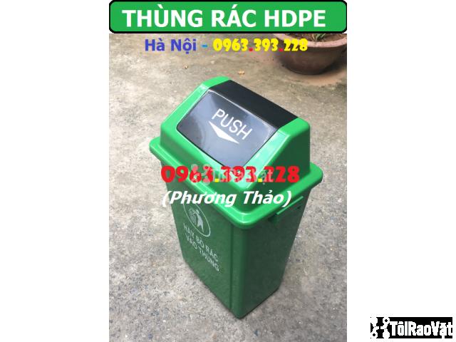 Thùng rác HDPE 60L nắp bập bênh, Thùng rác nhựa cao cấp - 2/3