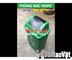 Thùng rác HDPE 60L nắp bập bênh, Thùng rác nhựa cao cấp - Hình ảnh 2/3