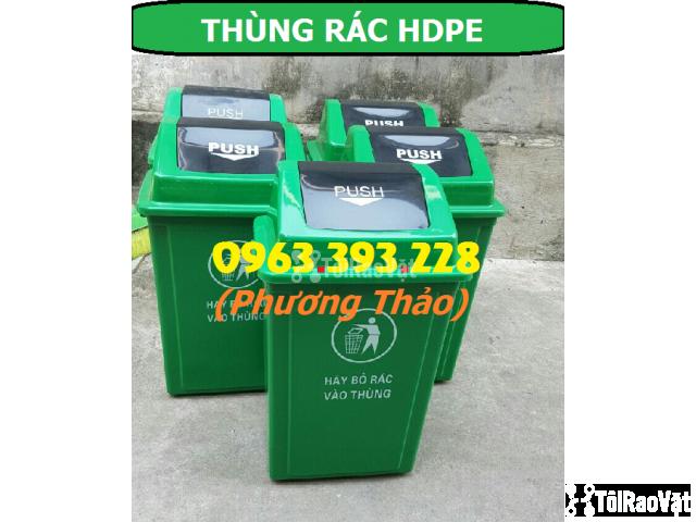 Thùng rác HDPE 60L nắp bập bênh, Thùng rác nhựa cao cấp - 3/3