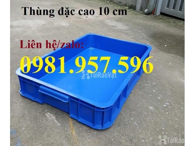Thùng nhựa đặc Hs025, sóng nhựa bit, thùng nhựa đặc cao 10 cm, thùng n - 1/3