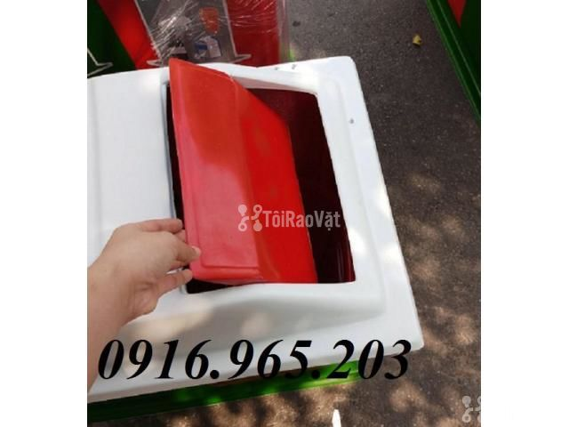 Thùng rác chia 3 ngăn, thùng phân loại rác công cộng 3 ngăn - 1/6