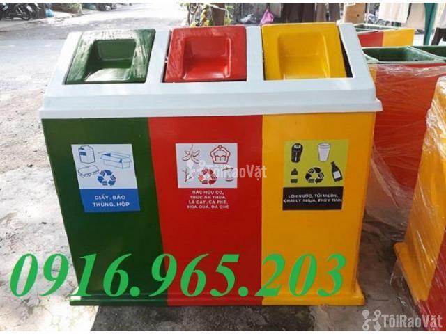 Thùng rác chia 3 ngăn, thùng phân loại rác công cộng 3 ngăn - 2/6